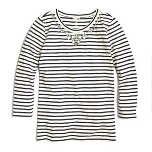 {J.Crew Factory} Embellished Striped Top
